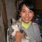 Hanh and her cat - we named him Joey as he had no name
