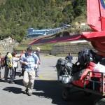Brett getting off plane at Lukla