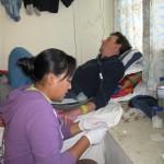 Rita Sherpa (nurse) puts IV line in Brett