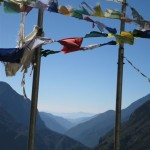 View from stupa through mountain valley