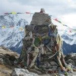 One of many cairns along the path in memory of those who have died on Everest