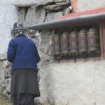 Local lady turns prayer wheels