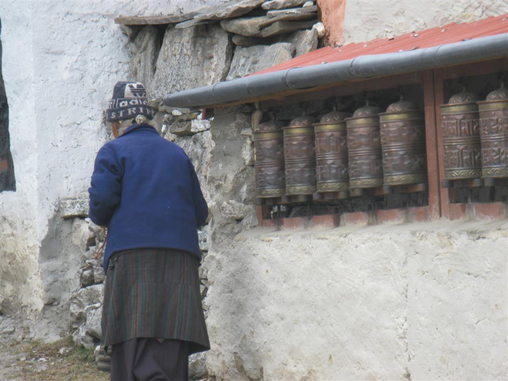 Local lady turns prayer wheels